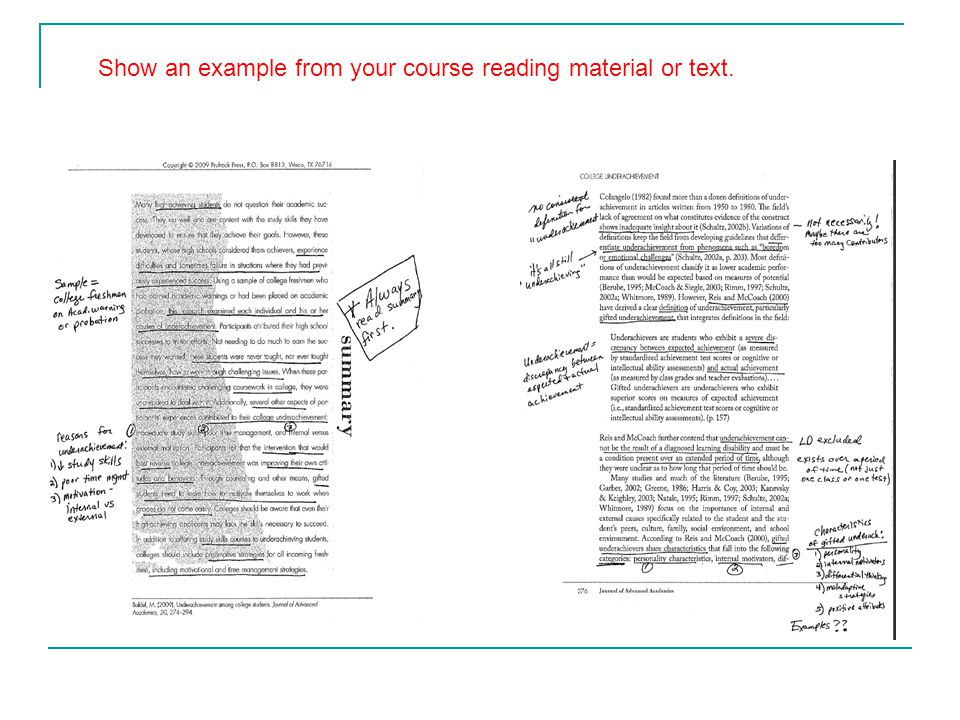 Show an example from your course reading material or text.