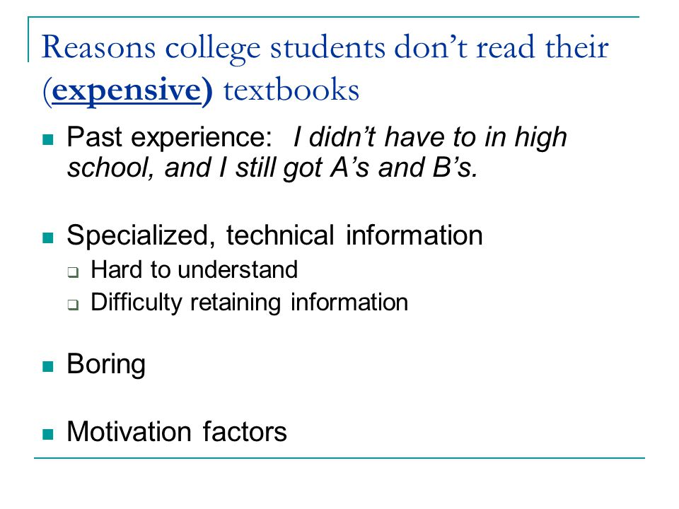 Reasons college students don't read their (expensive) textbooks