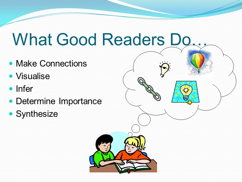What Good Readers Do… Make Connections Visualise Infer