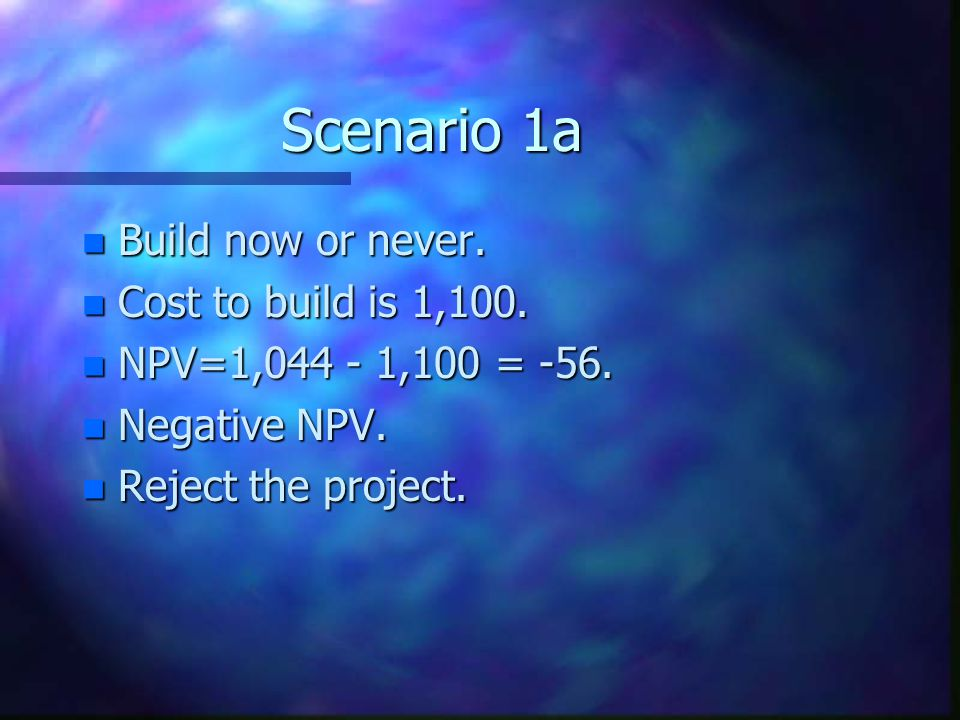 Scenario 1a Build now or never. Cost to build is 1,100.