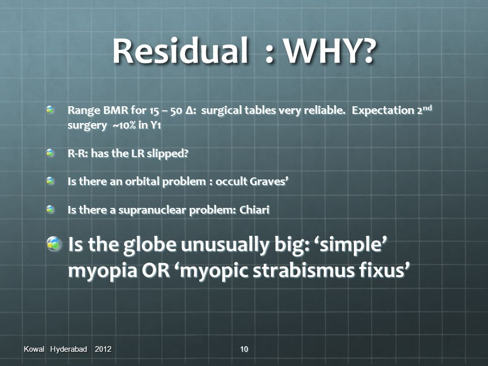 Residual : WHY Range BMR for 15 – 50 Δ: surgical tables very reliable. Expectation 2nd surgery ~10% in Y1.