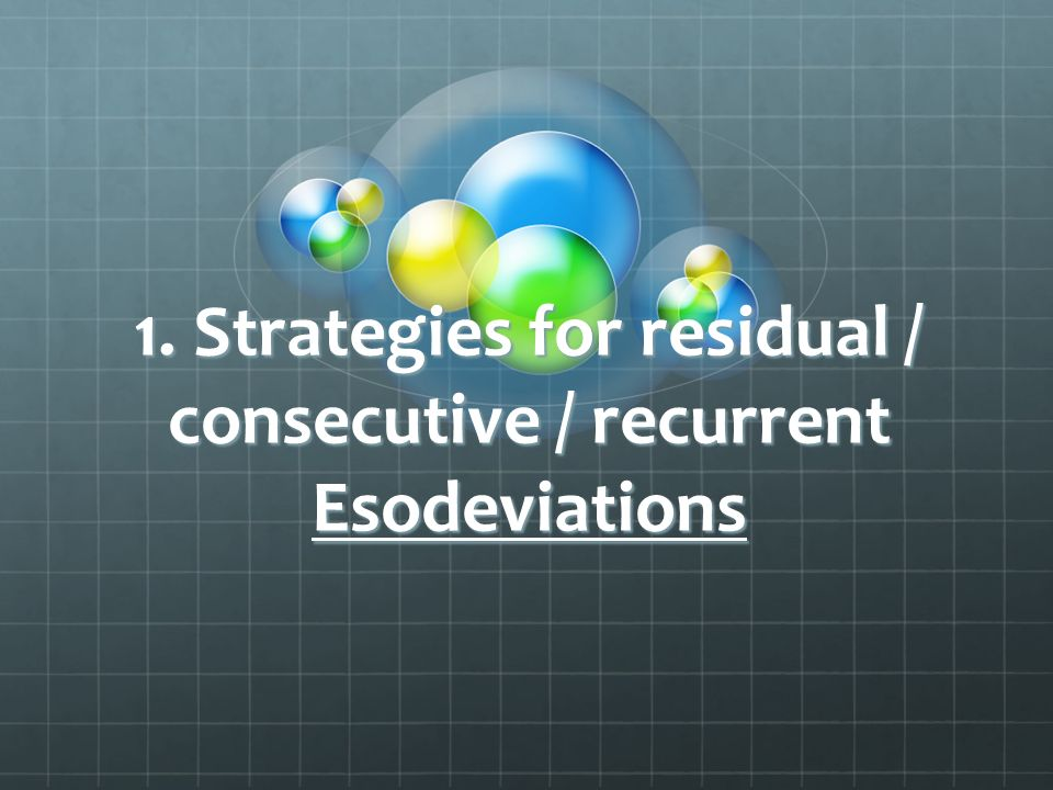 1. Strategies for residual / consecutive / recurrent Esodeviations