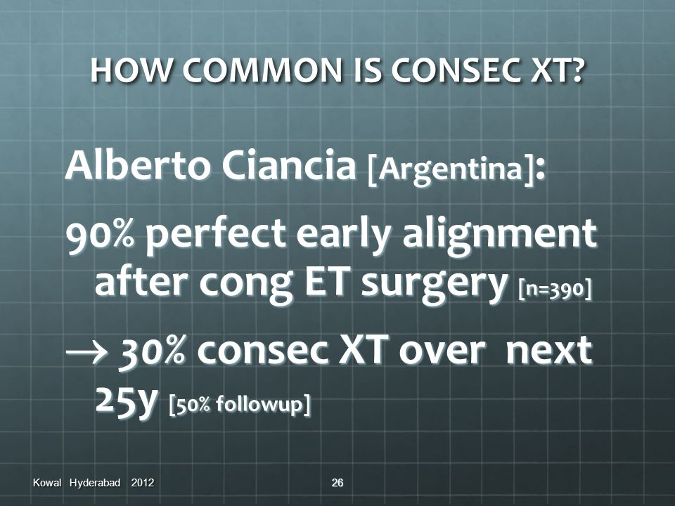 HOW COMMON IS CONSEC XT