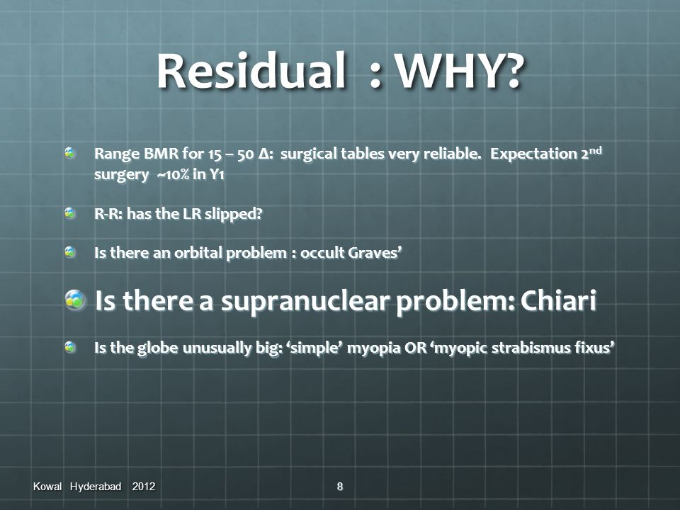 Residual : WHY Is there a supranuclear problem: Chiari
