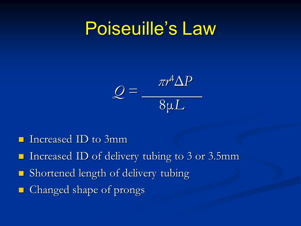 Poiseuille's Law πr4ΔP Q = ________ 8μL Increased ID to 3mm