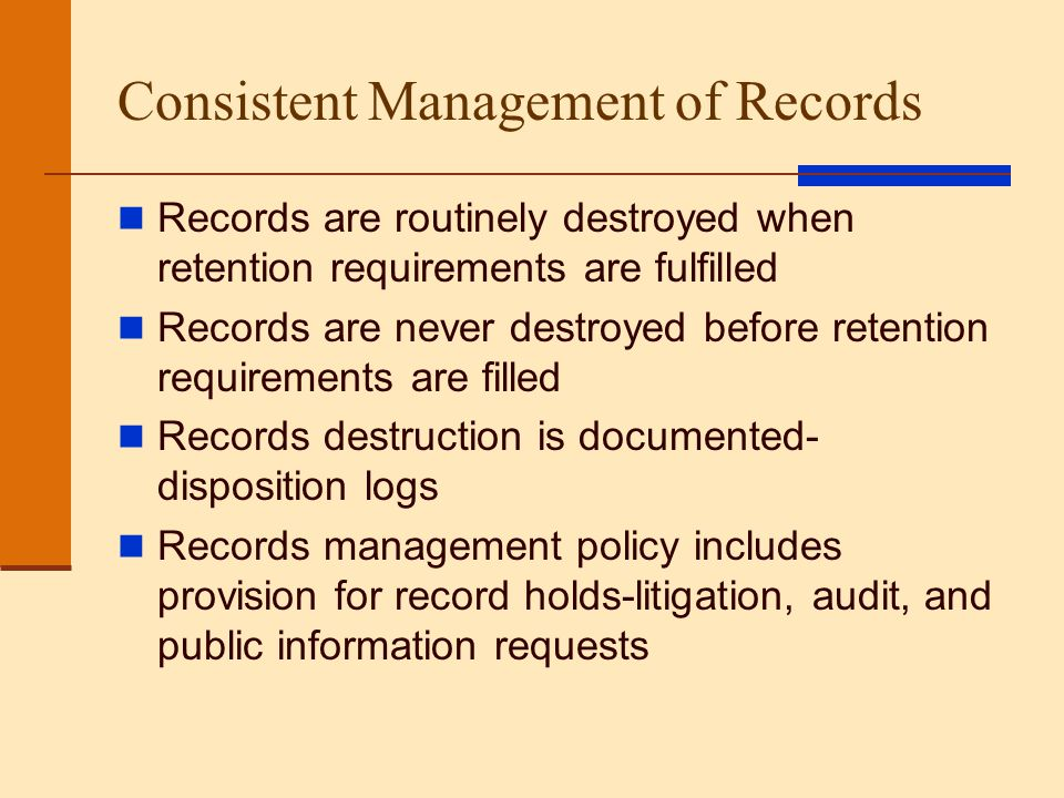 Consistent Management of Records