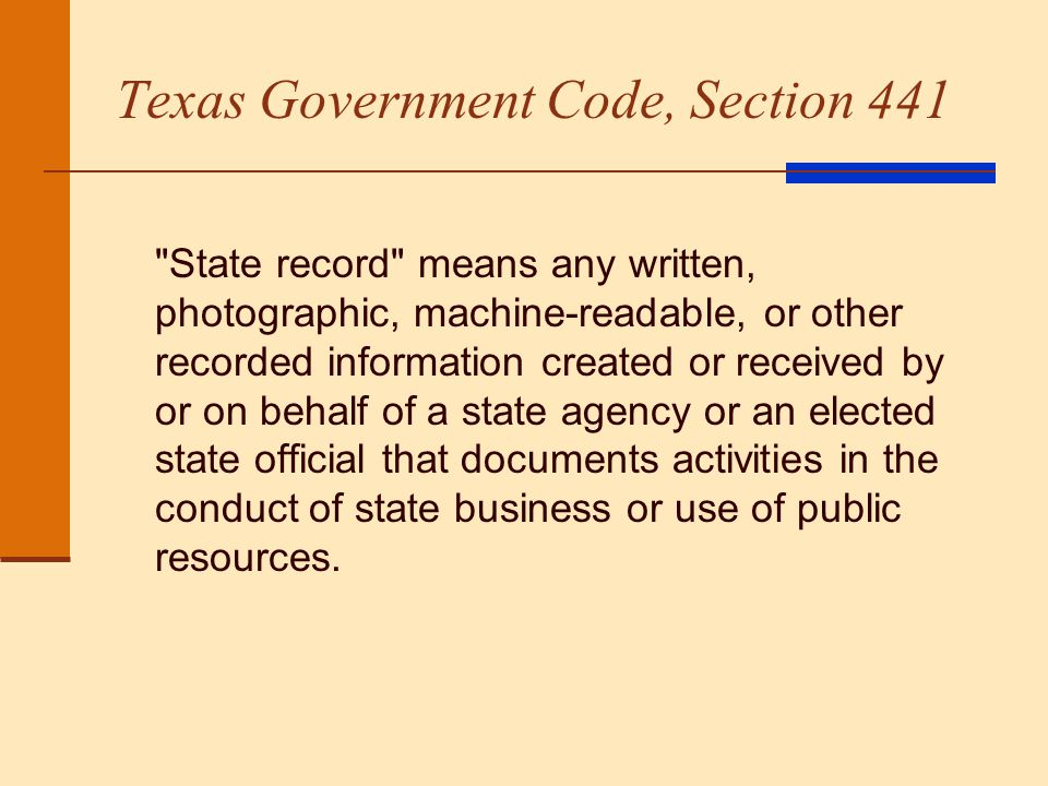Texas Government Code, Section 441