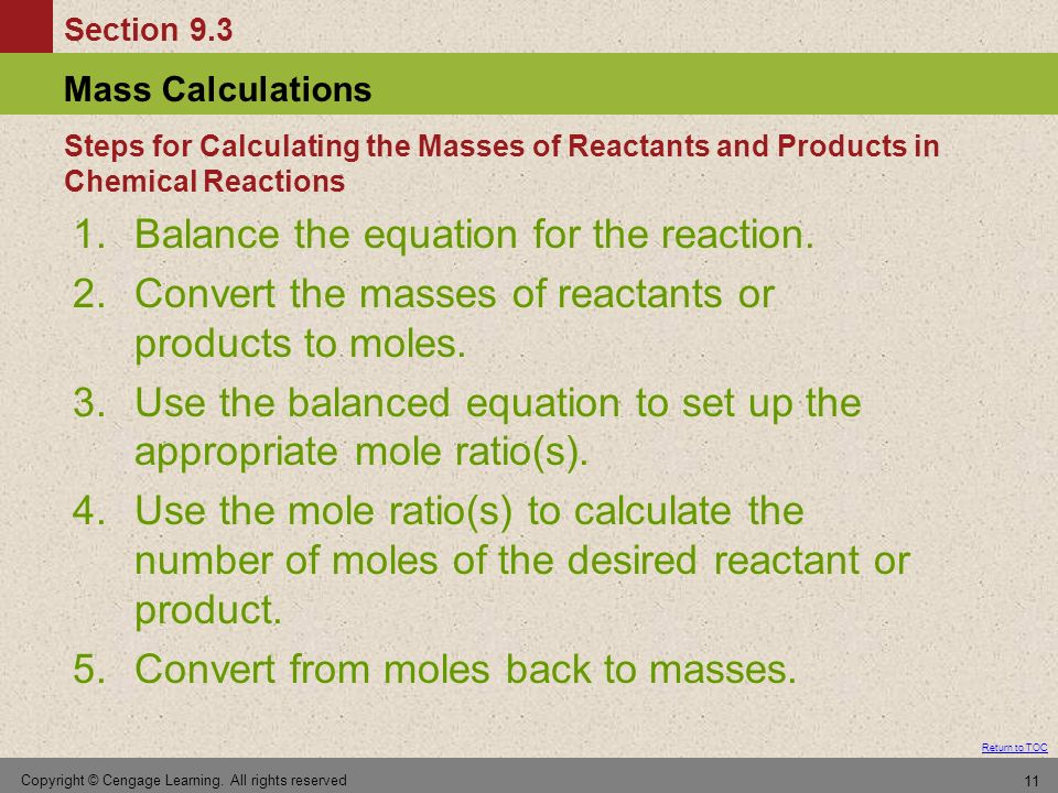 Balance the equation for the reaction.