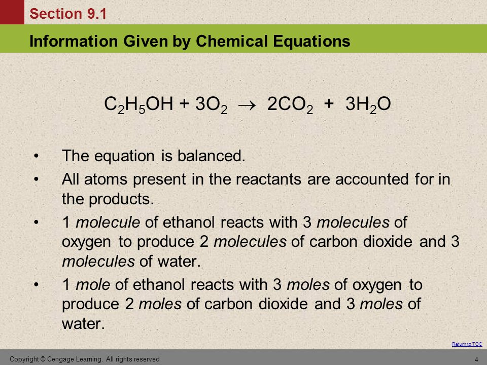 C2H5OH + 3O2  2CO2 + 3H2O The equation is balanced.