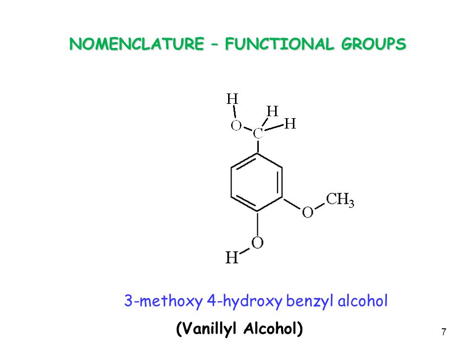 NOMENCLATURE – FUNCTIONAL GROUPS