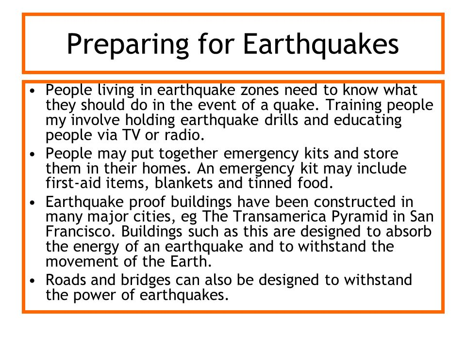 Preparing for Earthquakes