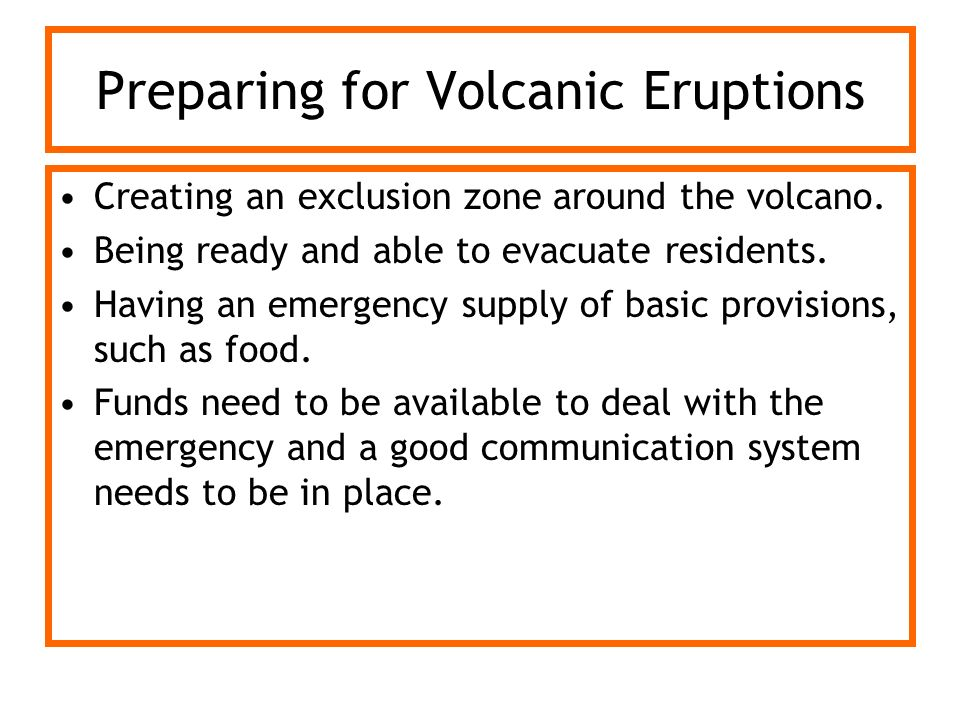 Preparing for Volcanic Eruptions