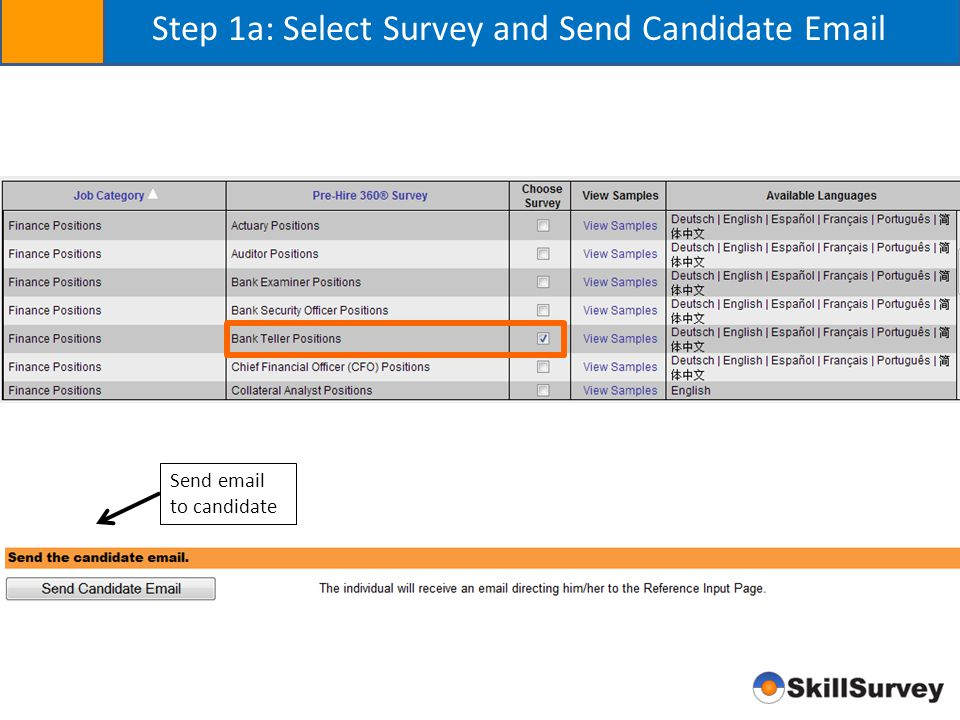 Step 1a: Select Survey and Send Candidate Email