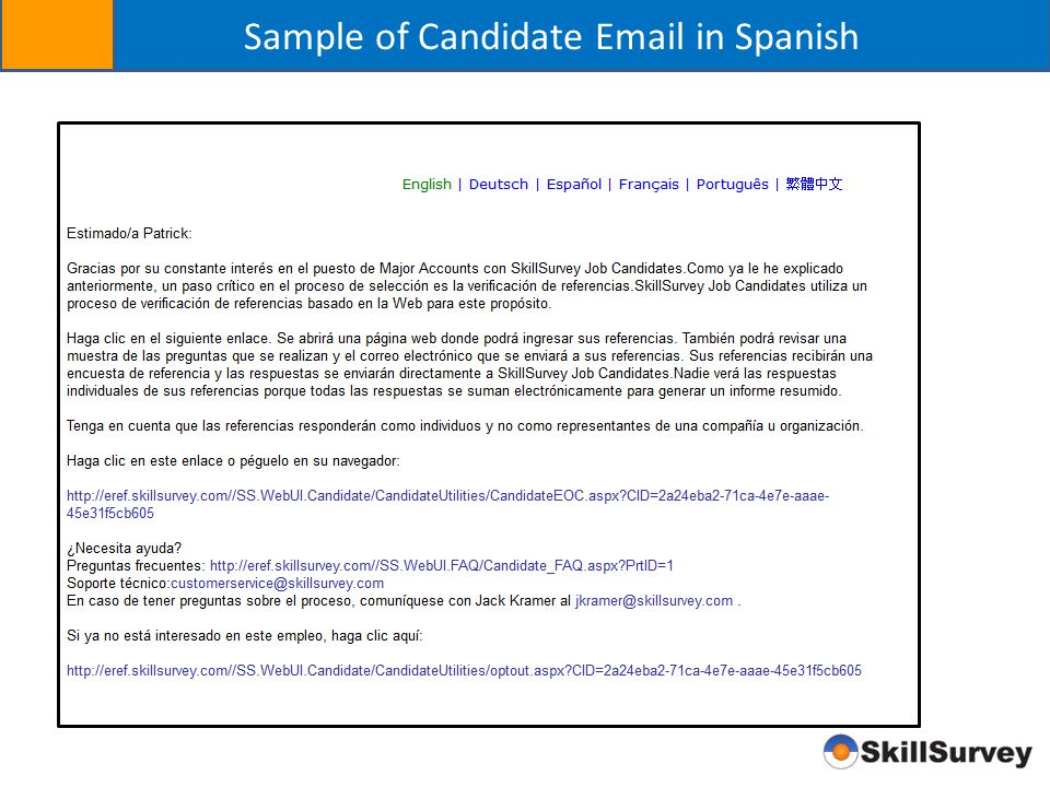 Sample of Candidate Email in Spanish