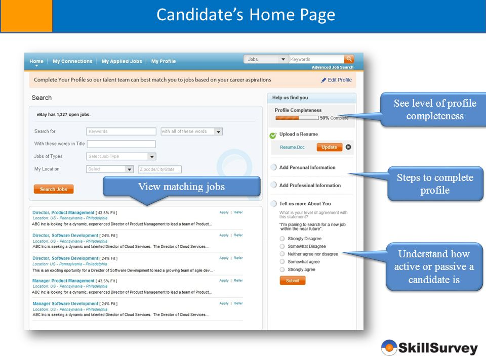 Candidate's Home Page See level of profile completeness