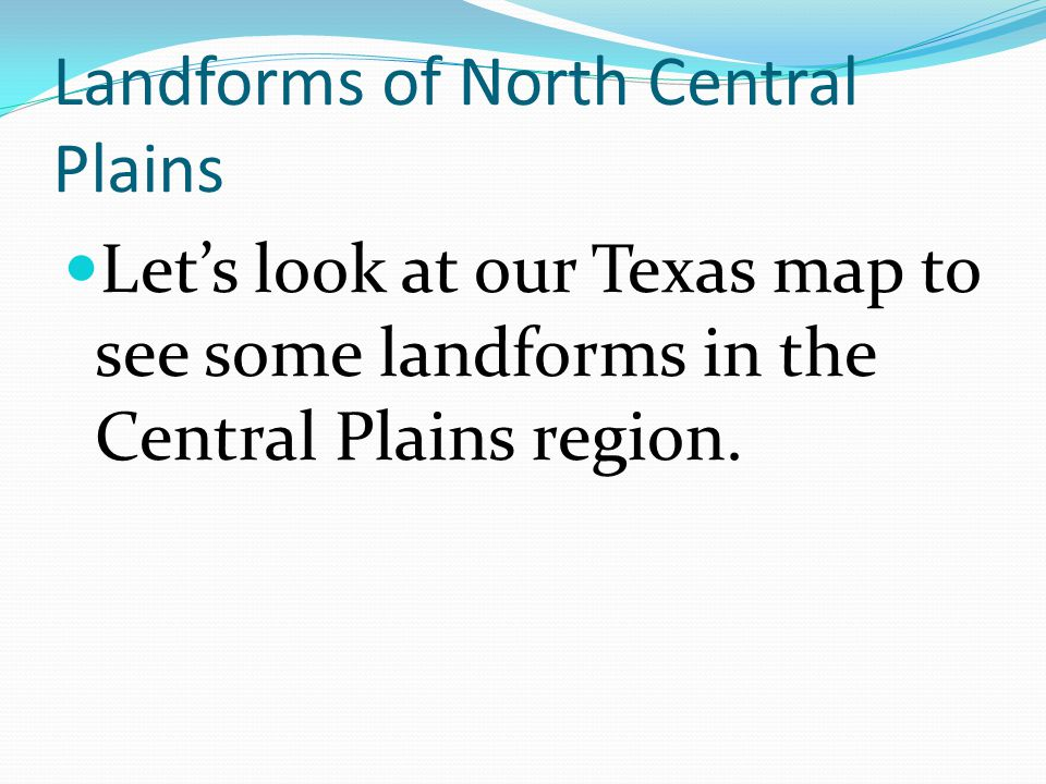 Landforms of North Central Plains