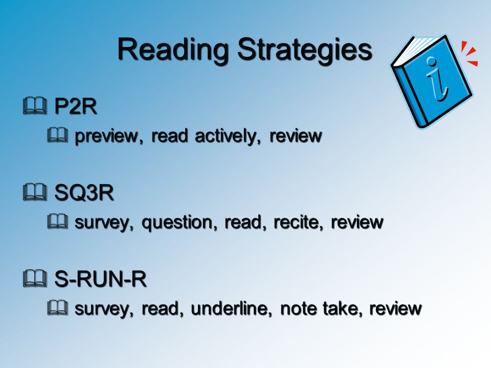 Reading Strategies P2R SQ3R S-RUN-R preview, read actively, review
