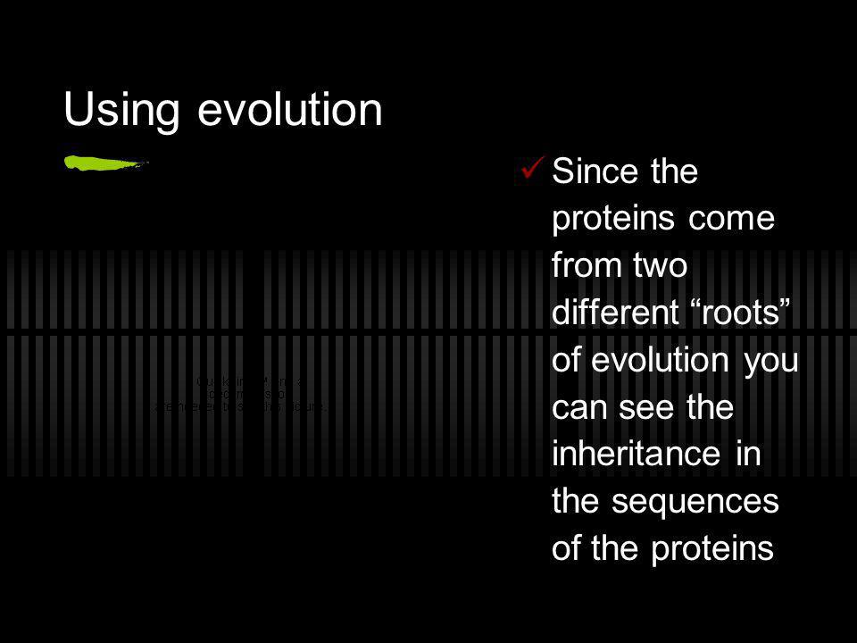 Using evolution Since the proteins come from two different roots of evolution you can see the inheritance in the sequences of the proteins.
