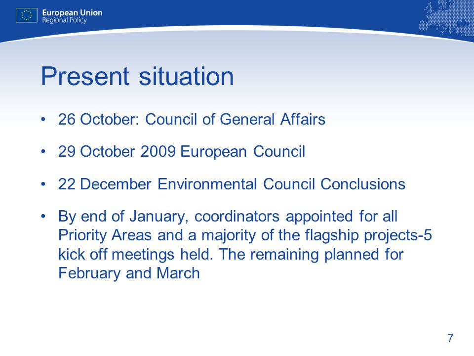 Present situation 26 October: Council of General Affairs