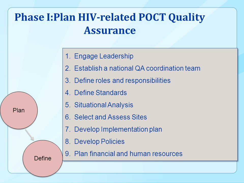 Phase I:Plan HIV-related POCT Quality Assurance