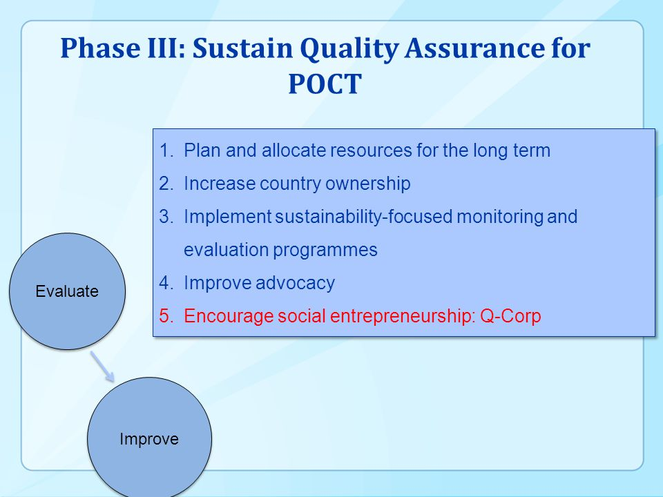 Phase III: Sustain Quality Assurance for POCT