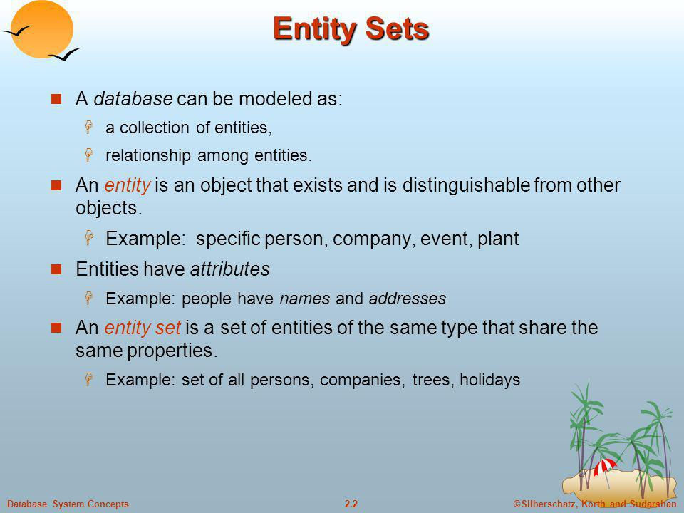 Entity Sets A database can be modeled as: