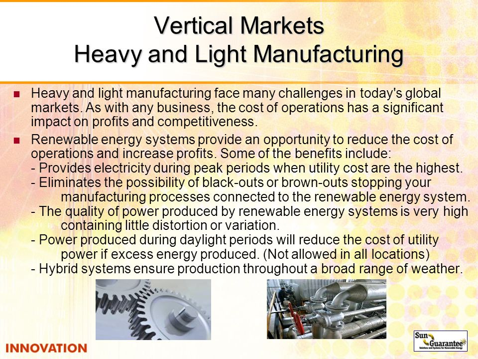 Vertical Markets Heavy and Light Manufacturing