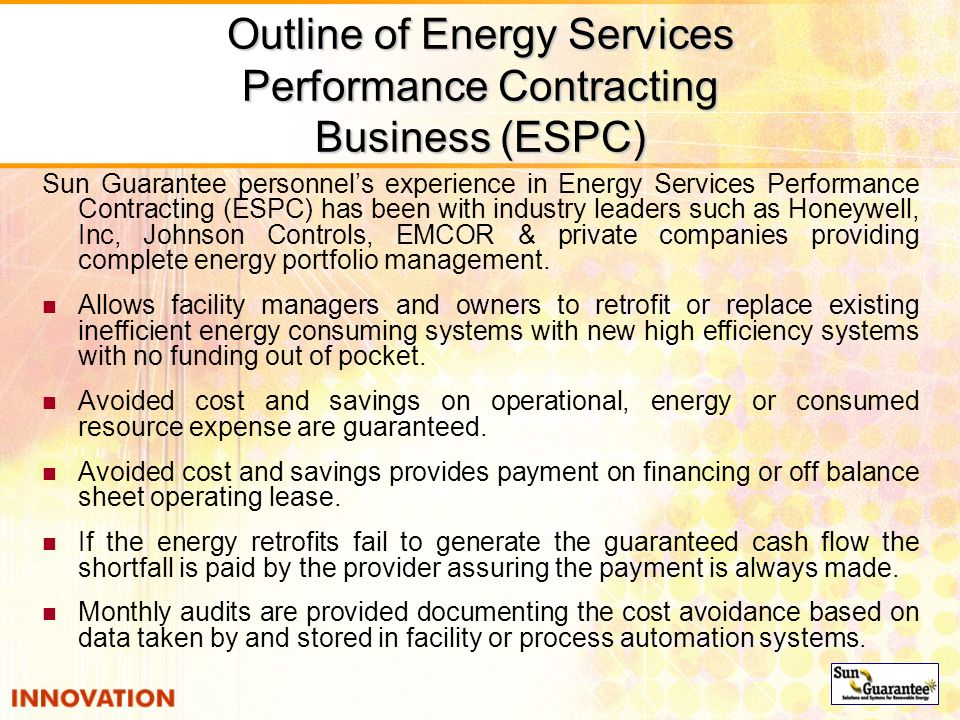 Outline of Energy Services Performance Contracting Business (ESPC)