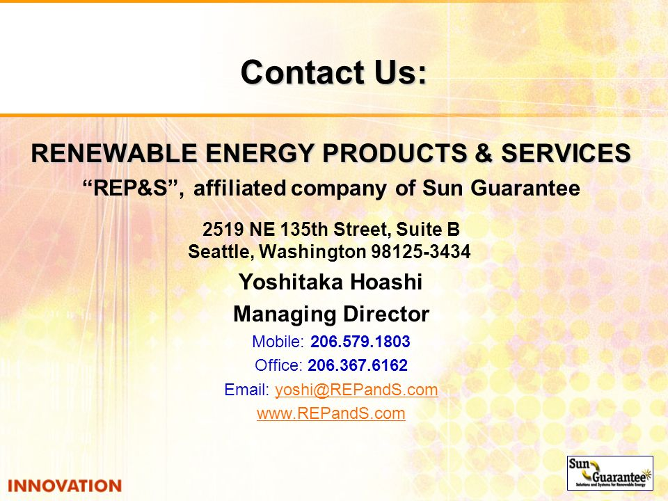 Contact Us: RENEWABLE ENERGY PRODUCTS & SERVICES
