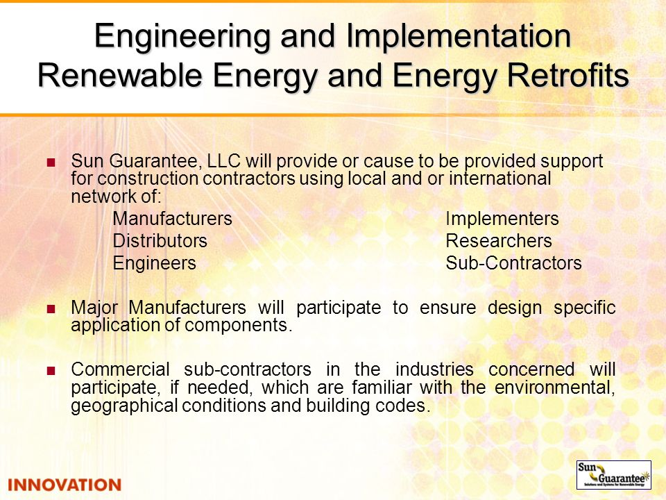 Engineering and Implementation Renewable Energy and Energy Retrofits