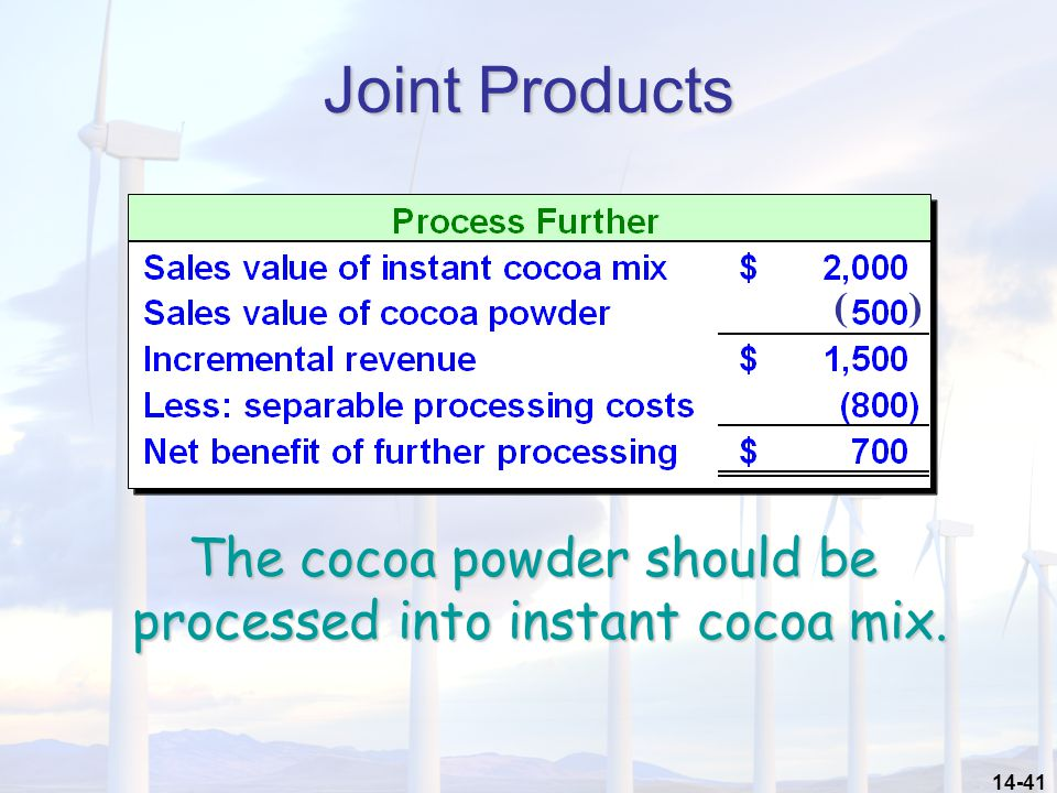 Joint Products The cocoa powder should be