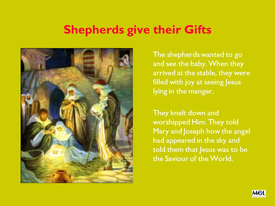 Shepherds give their Gifts