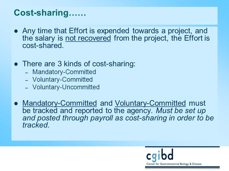 Cost-sharing…… Any time that Effort is expended towards a project, and the salary is not recovered from the project, the Effort is cost-shared.
