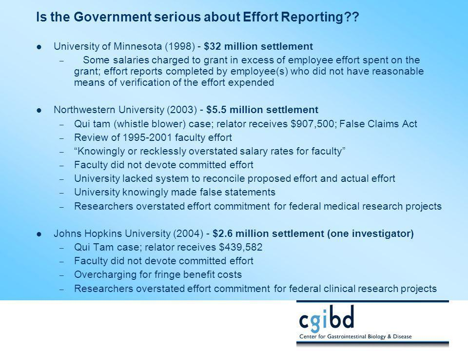 Is the Government serious about Effort Reporting