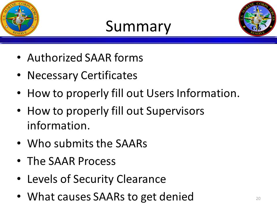 Summary Authorized SAAR forms Necessary Certificates