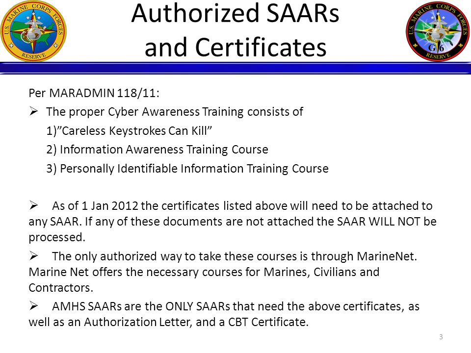 Authorized SAARs and Certificates