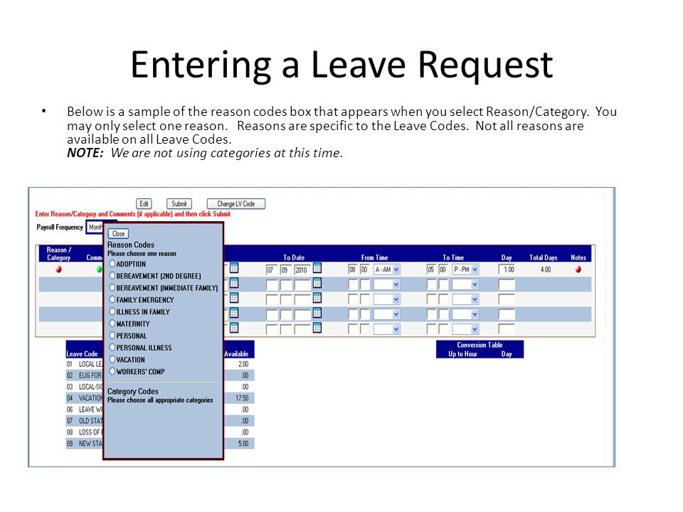 leave request for one day