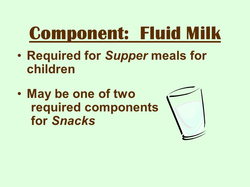 Component: Fluid Milk Required for Supper meals for children