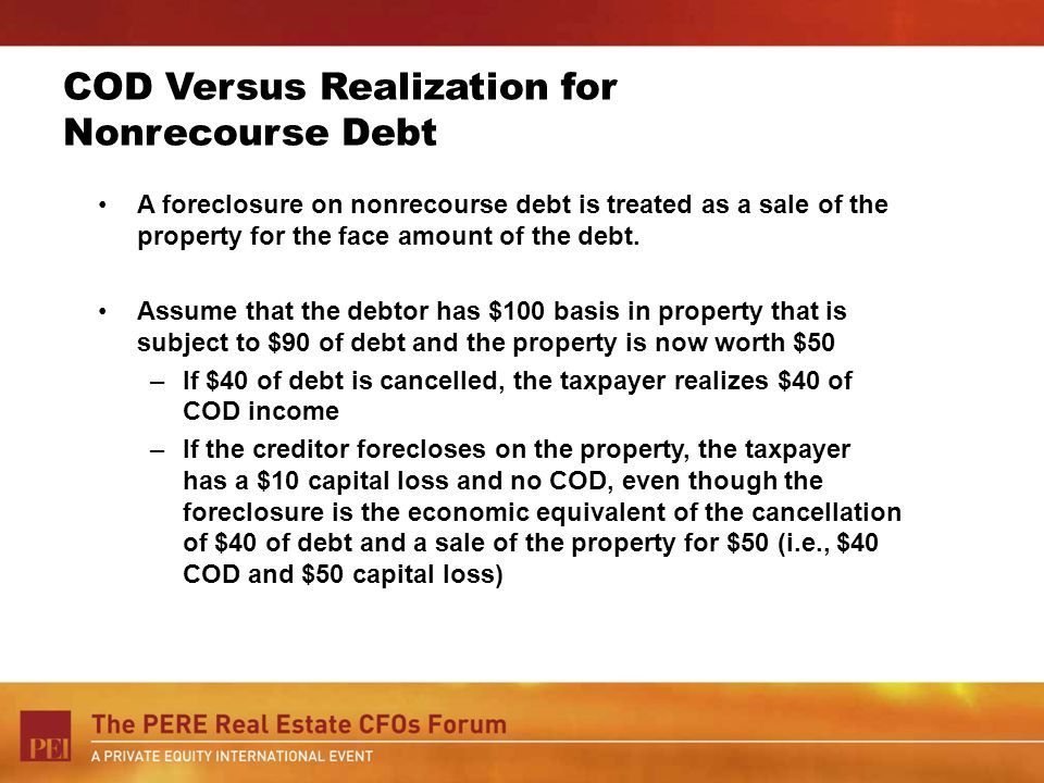 COD Versus Realization for Nonrecourse Debt