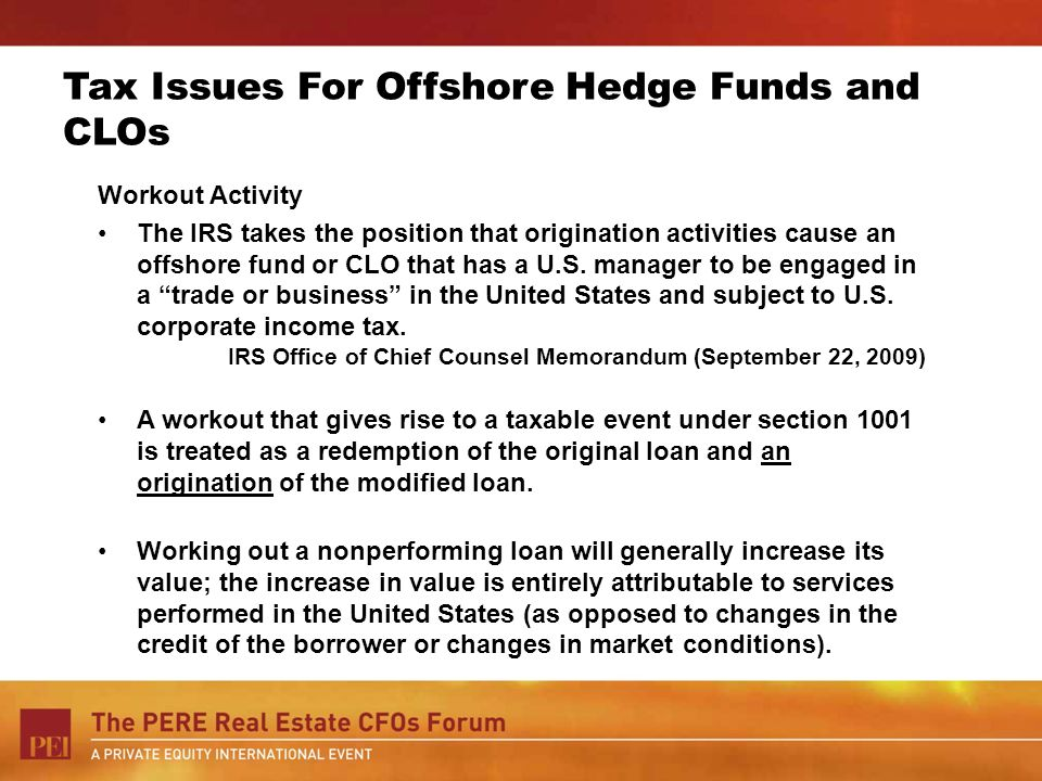 Tax Issues For Offshore Hedge Funds and CLOs