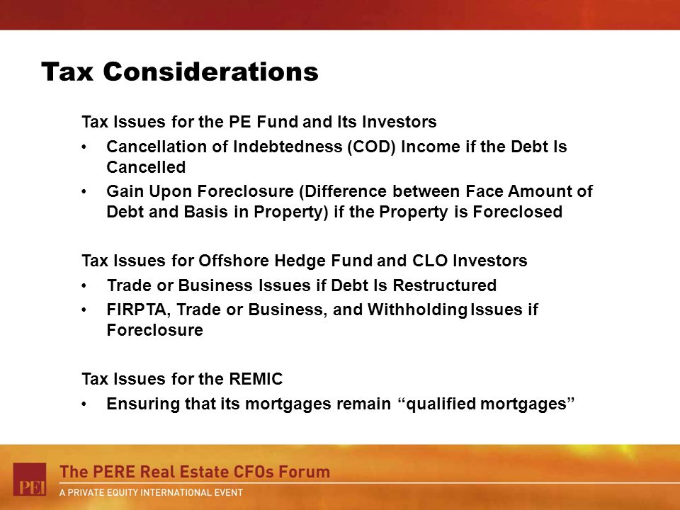 Tax Considerations Tax Issues for the PE Fund and Its Investors