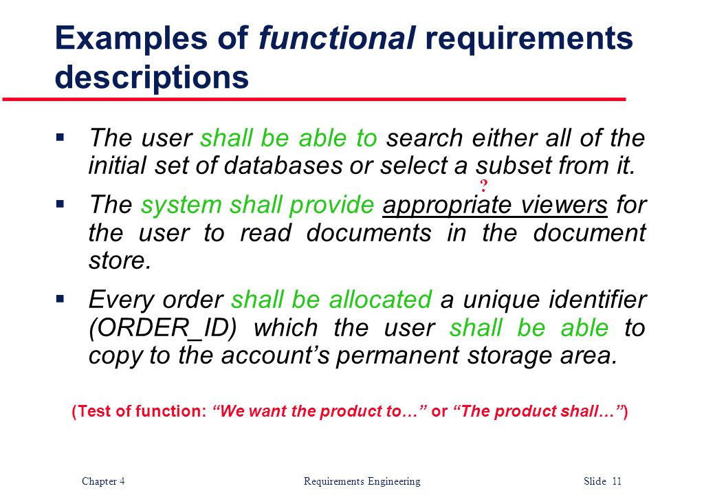 Examples of functional requirements descriptions