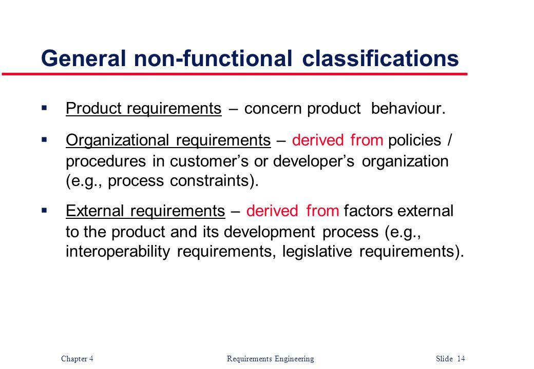 General non-functional classifications