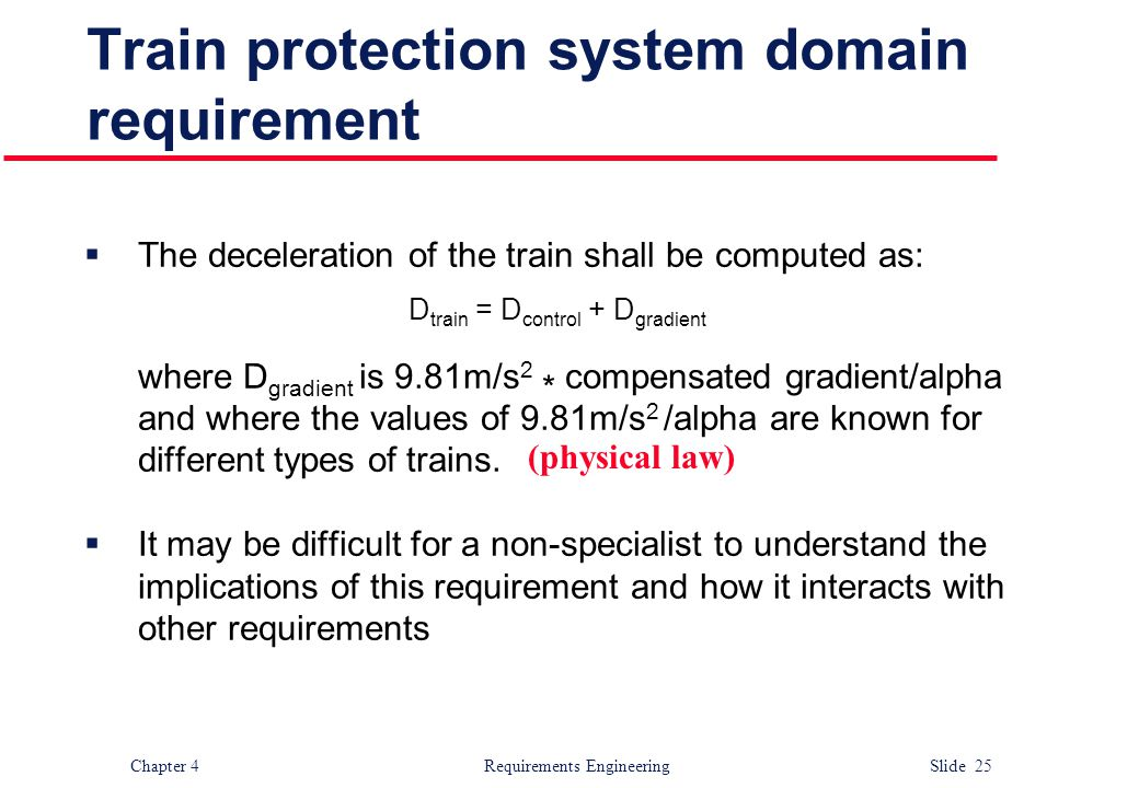 Train protection system domain requirement