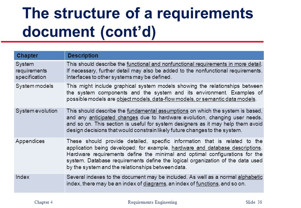 The structure of a requirements document (cont'd)