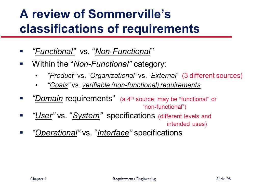 A review of Sommerville's classifications of requirements