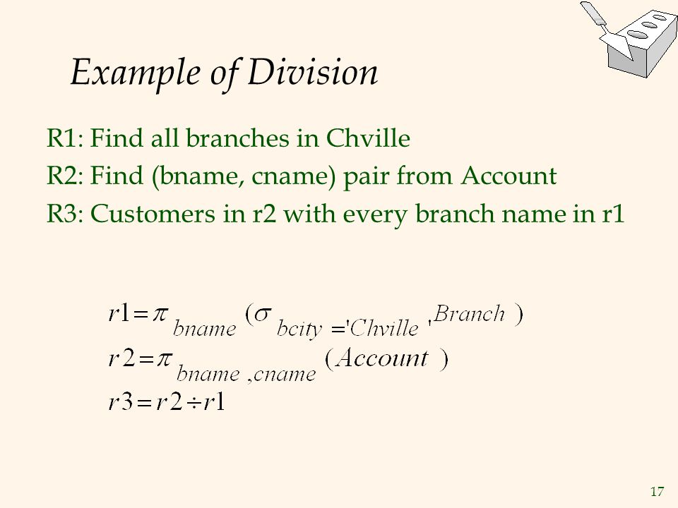 Example of Division R1: Find all branches in Chville