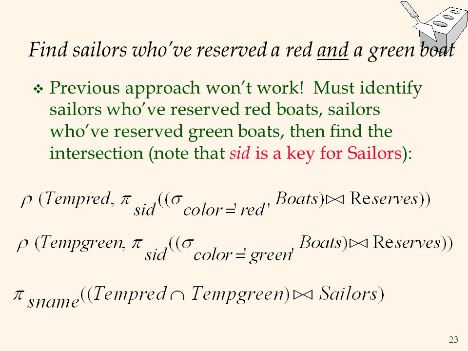 Find sailors who've reserved a red and a green boat