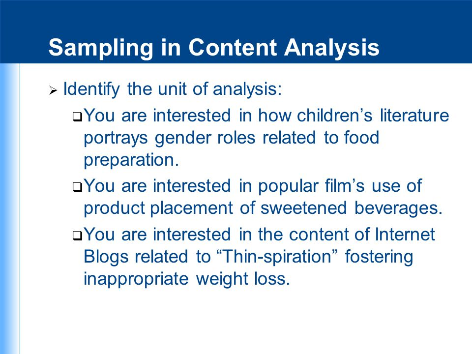 Sampling in Content Analysis