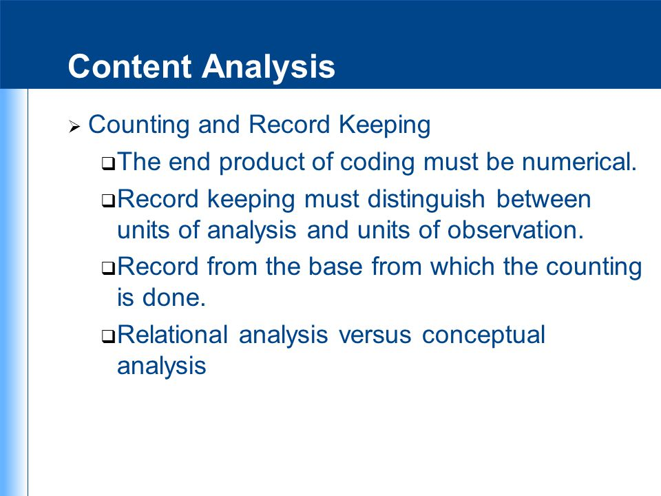 Content Analysis Counting and Record Keeping